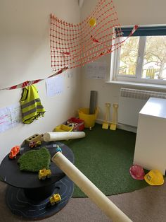 Our construction area for a year room in a nursery setting Construction Area, Role Play, Nursery, Kids Rugs, Room, Home Decor, Staging, Bedroom, Homemade Home Decor