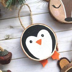 Personalised Penguin Ornament Penguin Wood Slice Art Custom Etsy Happy New Year Penguin Ornaments, Christmas Ornament Crafts, Christmas Wood, Homemade Christmas, Christmas Projects, Christmas Tree Ornaments, Holiday Crafts, Christmas Decorations, Diy Ornaments