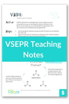 Do you need a clear way to teach VSEPR? These notes will guide yout through what to say and what to write when teaching VSEPR. High school chemistry can be clear and fun. #chemistry #VSEPR High School Chemistry, Chemistry Teacher, Molecular Geometry, Geometry Problems, Chemical Equation, Positive Comments, Need To Know