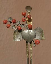 Kanzashi geisha old Japanese beautiful antique hair stick coral silver