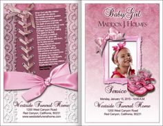 Lovely Baby Girl Funeral Programu0027 Good Looking