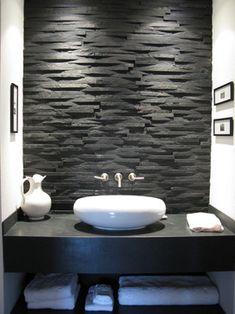 Modern bath with amazing black tile wall