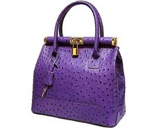 DESIGNER STYLE PURPLE GENUINE OSTRICH LEATHER HOLDALL HANDBAG WITH LOCK, KEY AND LONG STRAP, £79.99