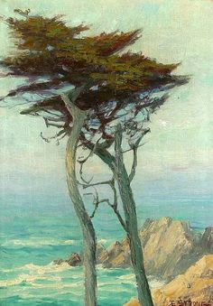 Carmel Coastal S L/r: E. Strong O/c oil painting by Elizabeth Strong, The highest quality oil painting reproductions and great customer service! Landscape Art, Landscape Paintings, Tree Paintings, Watercolor Trees, Watercolor Pictures, Illustrations, Pastel, Tree Art, Beautiful Paintings
