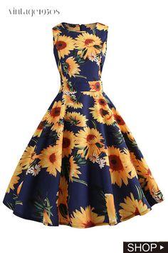 Plus size summer dress women floral vintage rockabilly dresses retro big swing hepburn sundress vestidos jurken Lace Party Dresses, Pin Up Dresses, Pretty Dresses, Casual Dresses, Short Dresses, Dress Party, Dresses Dresses, Holiday Dresses, Dresses Online