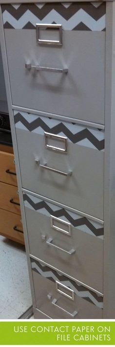 Use contact paper or tape to decorate filing cabinets