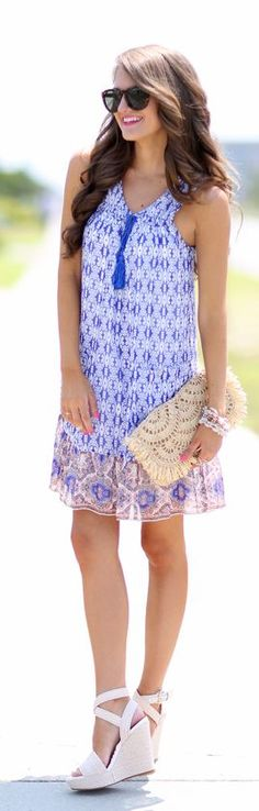 Printed Trapeze Dress Summer Style by Southern Curls and pearls