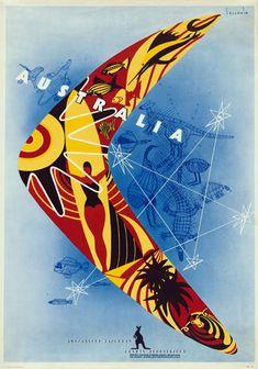 Australia Boomerang Aboriginal Art National Travel Association Vintage World Travel Poster by Retro Graphics Wanderlust, Australian Parrots, Posters Australia, Australian Vintage, Australian Art, Retro Poster, Poster Vintage, Tourism Poster, Kunst Poster