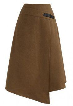 Attractive Simplicity Flap Wool-Blend A-line Skirt