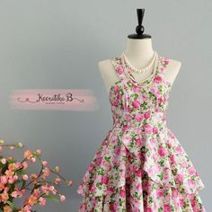 Roses Petal - Summer's Whisper Collection Spring Summer Sundress Pink Green Floral Party Dress Wedding Bridesmaid Dresses Floral Dress XS-XL