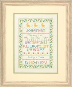 Amazon.com: Dimensions Needlecrafts Counted Cross Stitch Kit, Alphabet Sampler Birth Record: Arts, Crafts & Sewing