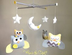 Baby Mobile - Customizable Neutral Grey and Yellow Chevron Owl Baby Mobile for Baby Girl or Boy - Nursery Mobile. $90,00, via Etsy.