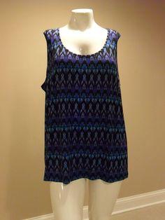 Catherines Women's Plus Geometric knit top Sleeveless Size:3X(26w-28w) New w/tag…