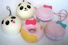 Kawaii Squishy Charm - Sweet Panda or Cute Donut - cellphone charms. $3.00, via Etsy.