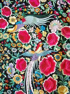 1920s Floral and Avian Piano Shawl http://es.pinterest.com/KarenHaskett/piano-shawl-%2B-parasol/