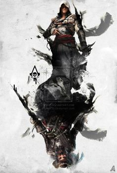 Assassin's Creed Poster Artwork by on DeviantArt Asesins Creed, All Assassin's Creed, Arte Assassins Creed, Assassins Creed Black Flag, Desenho Tattoo, Dark Fantasy Art, Pirate Life, Game Art, Games