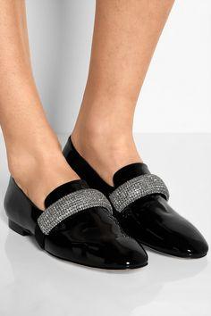 Christopher Kane|Crystal-embellished patent-leather loafers|NET-A-PORTER.COM