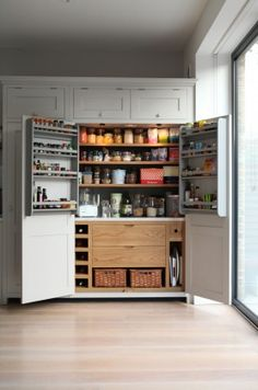 Brook Green Larder - Higham Furniture - Painted in Little Green French Grey with Oak interior. A substantial oak and painted larder with wicker baskets at the base. Kitchen Pantry Design, Open Plan Kitchen, Kitchen Cupboards, Home Decor Kitchen, Kitchen Living, Interior Design Kitchen, New Kitchen, Home Kitchens, Pantry Cupboard