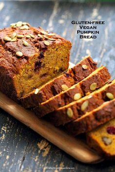 Vegan Gluten free Pumpkin Bread Recipe with cranberries and walnuts. Gum-free, Soy-free. Can be made oat-free. | http://VeganRicha.com #vegan #glutenfree#pumpkinbread