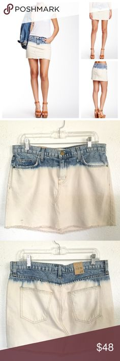 """Current/Elliott Mini Cut Off Denim Skirt Zip fly with button closure, 5 pocket construction.  Color is Sea Salt.  Bleached to frayed hem.  Measures about 17"""" across the waistband and 13.75"""" in length.  No trades. Current/Elliott Skirts Mini"""