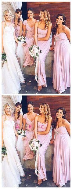 047ae123ffd Long Pink Mismatched Bridesmaid Dresses Cheap Plus Size Bridesmaid Dresses  ARD1164
