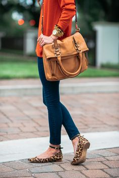 Strappy leopard ballet flats and a pumpkin sweater. The perfect blend of polished and casual!