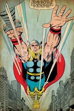 Marvel Comics Retro: Mighty Thor Comic Panel, Flying (aged) Stretched Canvas Print at Art.com