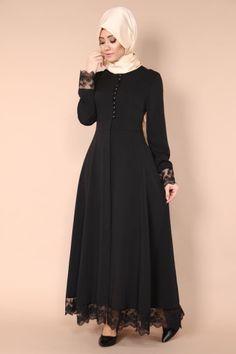 Sırtı Fiyonklu Güpürlü Ferace AH2132 Siyah Burka Fashion, Muslim Fashion, Hijab Evening Dress, Hijab Dress, African Fashion Dresses, African Dress, Hijabs, Official Dresses, Pakistani Fashion Casual