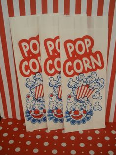 50 Vintage Inspired Clown Popcorn Bags by DimeStoreBuddy on Etsy, $7.00