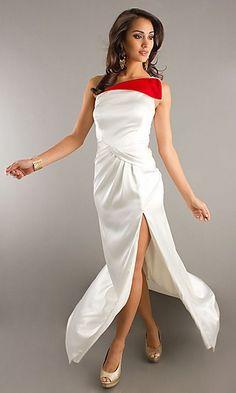 Floor Length One Shoulder Gown FA-S7002  www.dresseswd.com  Style: FA-S7002  Name: Floor Length One Shoulder Gown Details: Two Toned, Ruched, Side Slit   Length: Long   Neckline: One Shoulder   Waistline: Natural