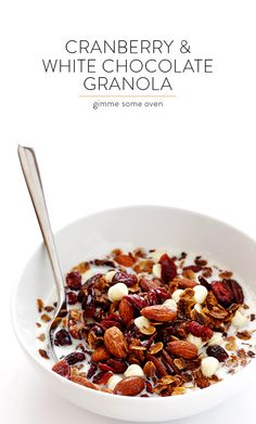 Cranberry White Chocolate Granola -- easy to make, and so delicious for breakfast or a snack! | gimmesomeoven.com