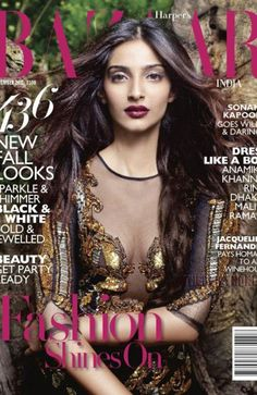 Sonam Kapoor cover on photo shoot scan Harper's Bazaar India magazine September 2011 Sonam Kapoor Cannes, Dior, Fashion Cover, Women's Fashion, Vogue, Dark Lips, Jacqueline Fernandez, Models Makeup, Brown Girl