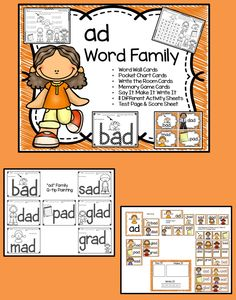 Word Families are an excellent way to introduce reading to children.   This set of ad Word Family Activities is packed full of fun and will engage your students all week long. There are enough extra practice pages included in this set you can use them for homework, early finishers or as morning work.