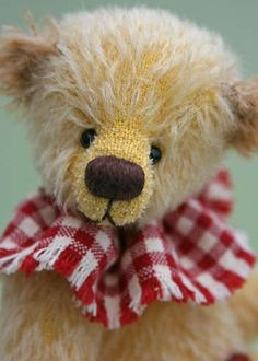 Bobo by By Scruffie Bears - Love the red gingham collar!