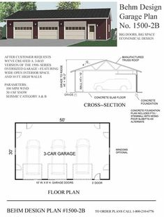 Garage Plan No. 1500-2B by Behm Design 50' x 30' has the correct look for the doors, but changing the roof to 8-12 pitch and adding attice storage trusses over half and scissor trusses over the side with the lift should do it!