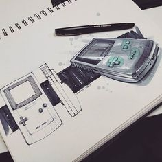 A large part of my childhood in this sketch. I wish I still had my green gameboy color but unfortunately it got stolen when I was younger. Was inspired by and decided to continue the series with a sketch of the Color. Portfolio Design, Portfolio Layout, Illustration Sketches, Illustrations, Sketch Design, Design Art, Art Assignments, Industrial Design Sketch, Sketch Markers