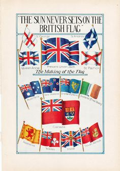 Vintage Flags Illustration ,'The Sun Never Sets on The British Flag', a 1930's World Book encyclopedia print.