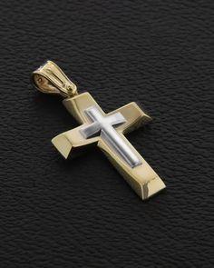 Σταυρός Βαπτιστικός Χρυσός & Λευκόχρυσος K9