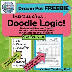 FREE Logic Puzzle, Doodle Logic, Critical Thinking by Prickly Pear Puzzles Teaching Study Skills, Teaching Activities, Teaching Ideas, School Resources, Teacher Resources, Logic And Critical Thinking, Logic Puzzles, Teacher Blogs, Life Skills
