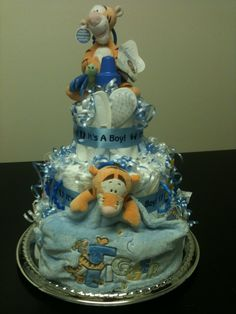 It's A Boy Diaper Cake Decorated with Tiger