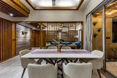 Vertis : A House With Diversity Yet Subtlety Living Room Partition Design, Room Partition Designs, Home Design Living Room, Living Room Modern, Indian Home Design, Indian Home Interior, Architectural Design Magazine, Sitting Arrangement, Parents Room