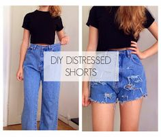 Handmade with Paige : DIY High Waisted Distressed Shorts from Jeans + How to make the waist smaller