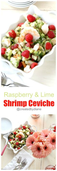 raspberry and lime shrimp ceviche Shellfish Recipes, Seafood Recipes, Dinner Recipes, Blender Recipes, Healthy Recipes, Delicious Recipes, Shrimp Ceviche, Summer Fruit, Cooking Light