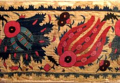 Late 17th.century Ottoman embroidery.silk on linen..mounted on a fabric..size 41 x 172 cm