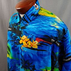 d4024214e ... Shirt Button Down Palm Leave Cotton #ReynSpooner #Hawaiian. Pattern  features palm trees, islands, hibiscus flowers and outriggers. Vibrant multi  color ...