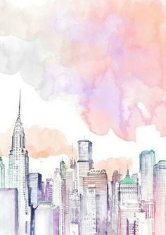 water color city art wallpaper