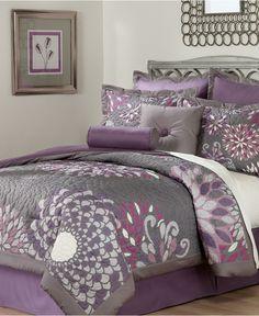 purple and gray bedroom sets - Internal Home Design Bedroom Color Schemes, Bedroom Colors, Bedroom Sets, Bedroom Decor, Master Bedroom, Lilac Bedroom, Purple Bedrooms, Full Comforter Sets, Bedding Sets
