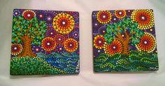 Hand painted ceramic tiles by Miranda Pitrone @etsy