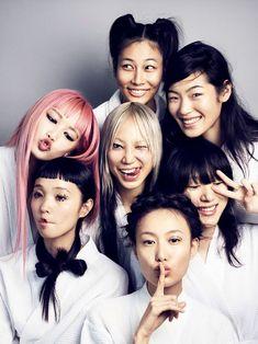 Fernanda Ly, Soo Joo, Chiharu Okunugi, Shu Pei Qin, Sora Choi, Milano Nasu & Yuka Mannami by Marcus Ohlsson for Vogue Japan September 2016