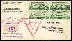 United States Airmail stamps, Scott C18, 1933 Century of Progress, block of four on New York, N.Y., Oct. 2 FDC, handstamped cachet, R.A. Kincl corner card, little adhesive toning, otherwise v.f., (Catalog value $400)